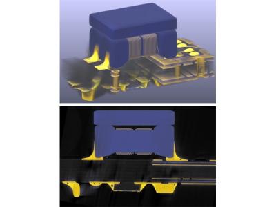 Abbildung 3: 3D-Modell und virtueller Querschliff an einer SMT-Induktivität.